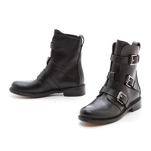 Rag & Bone black Hudson moto buckle Boot